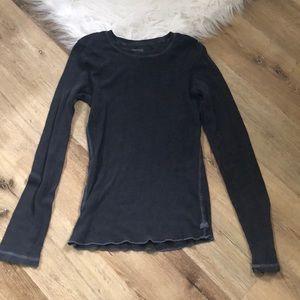 Textured Sheer Long Sleeve American Eagle Shirt